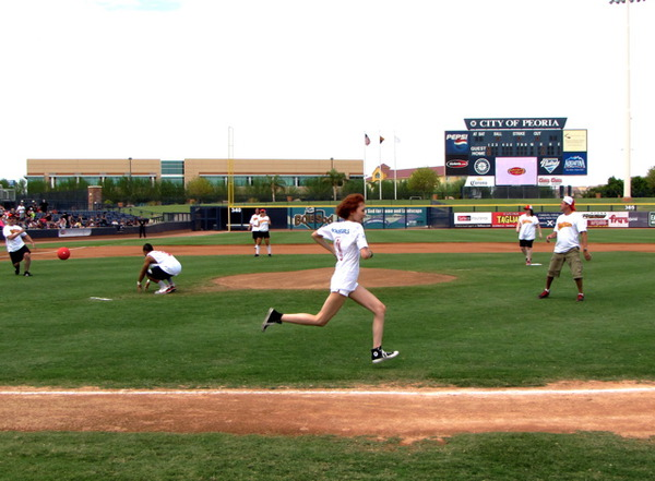 """""""That's me running to 2nd base @ our kickball game today with JB!!!"""" – WGmimi"""